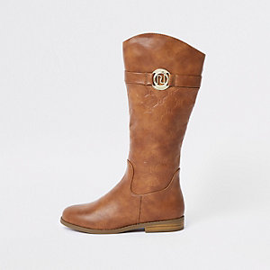 Girls brown RI monogram knee high boots
