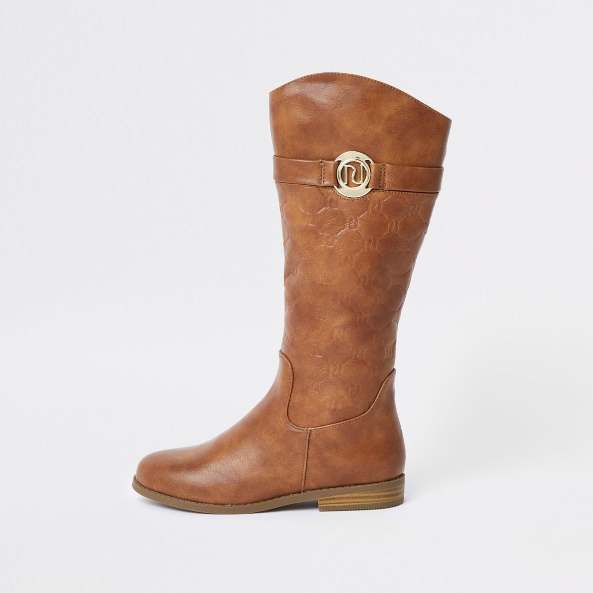 Girls brown RI monogram knee high boots