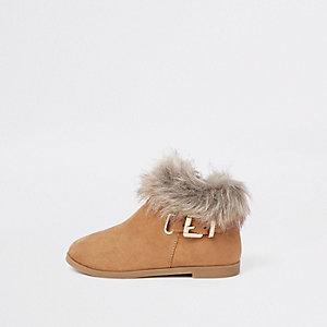 Mini - Bruine laarzen met gesp en bontrand voor meisjes