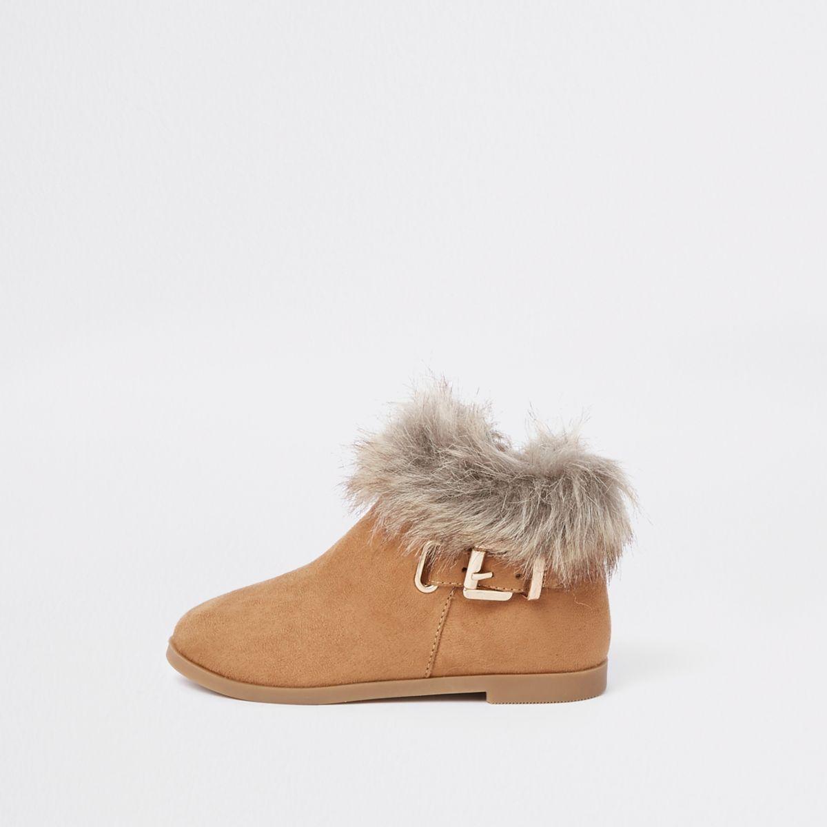 Mini girls brown fur trim buckle boots