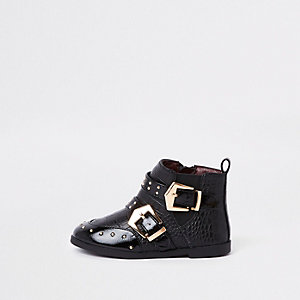 Mini girls black stud buckle ankle boots