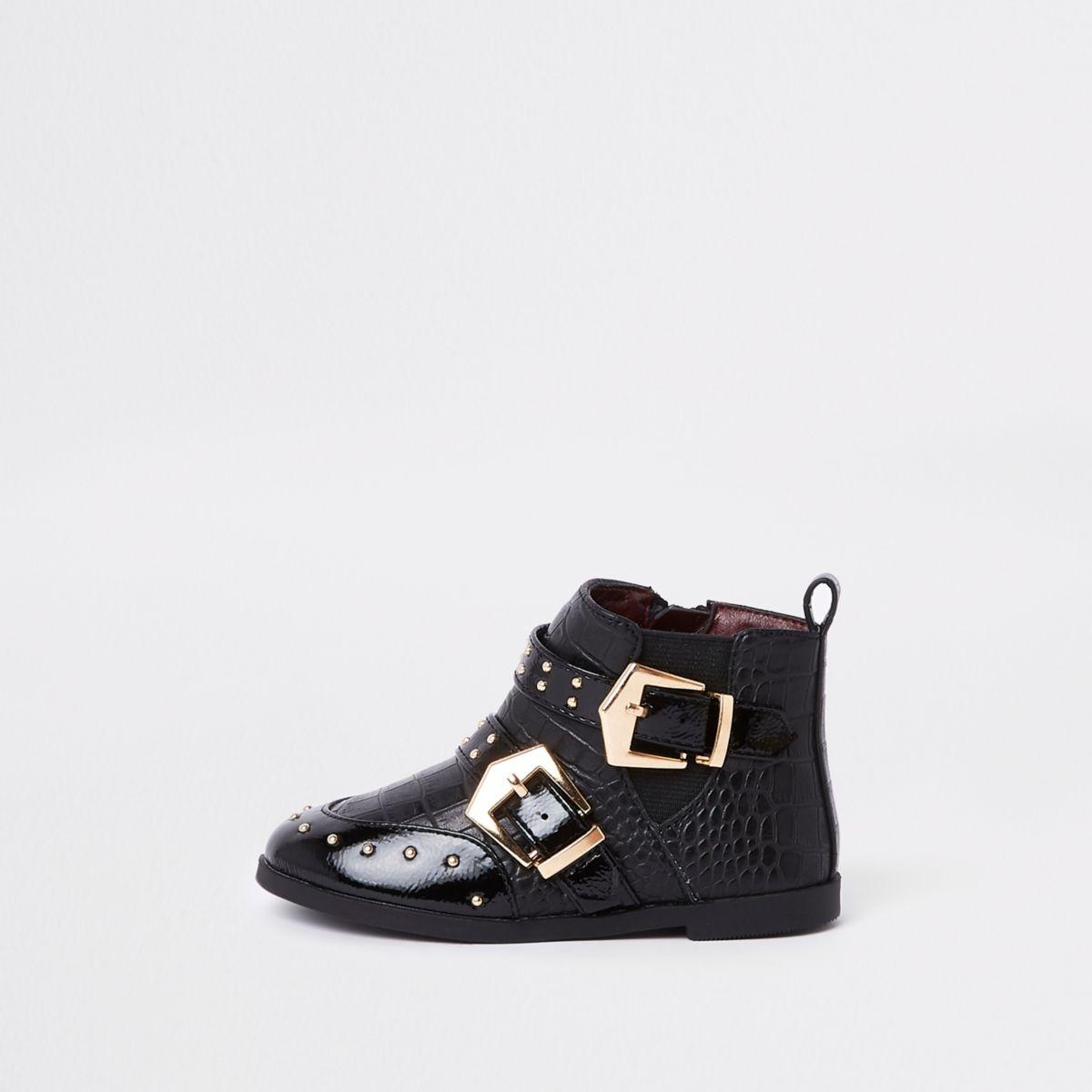 Mini girls black stud buckle ankle boots