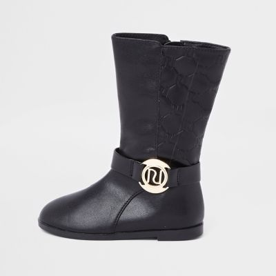 Mini Girls Black Ri Monogram Calf Boots by River Island