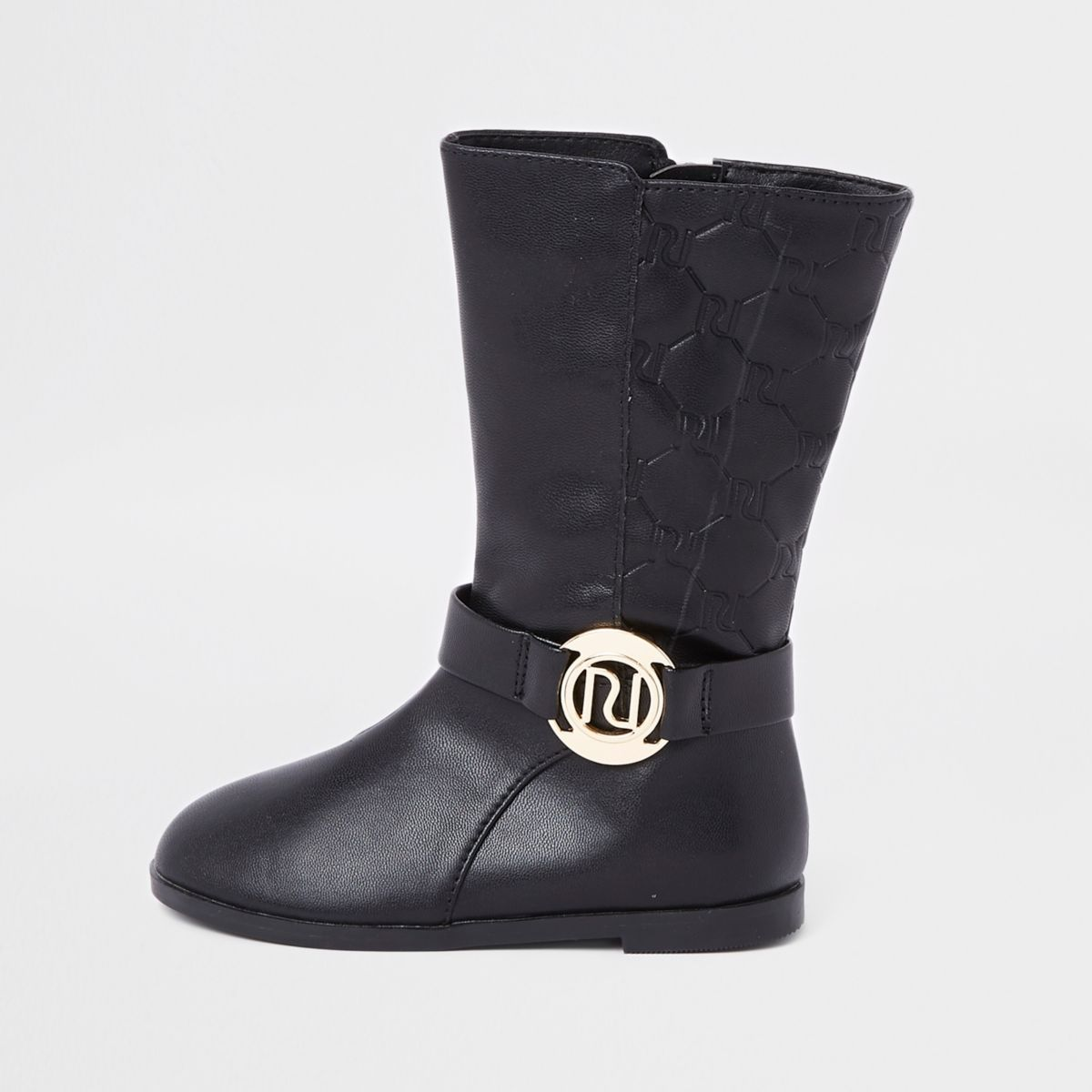 Mini girls black RI monogram calf boots