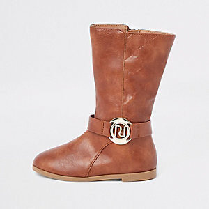 Mini girls tan RI monogram calf boots