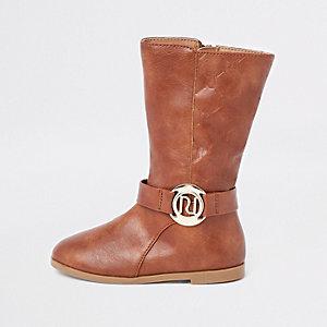 Mini - Bruine kalfsleren laarzen met RI-monogram voor meisjes