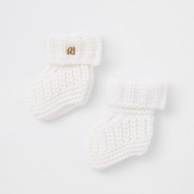 Baby Cream Knitted Boot Socks by River Island