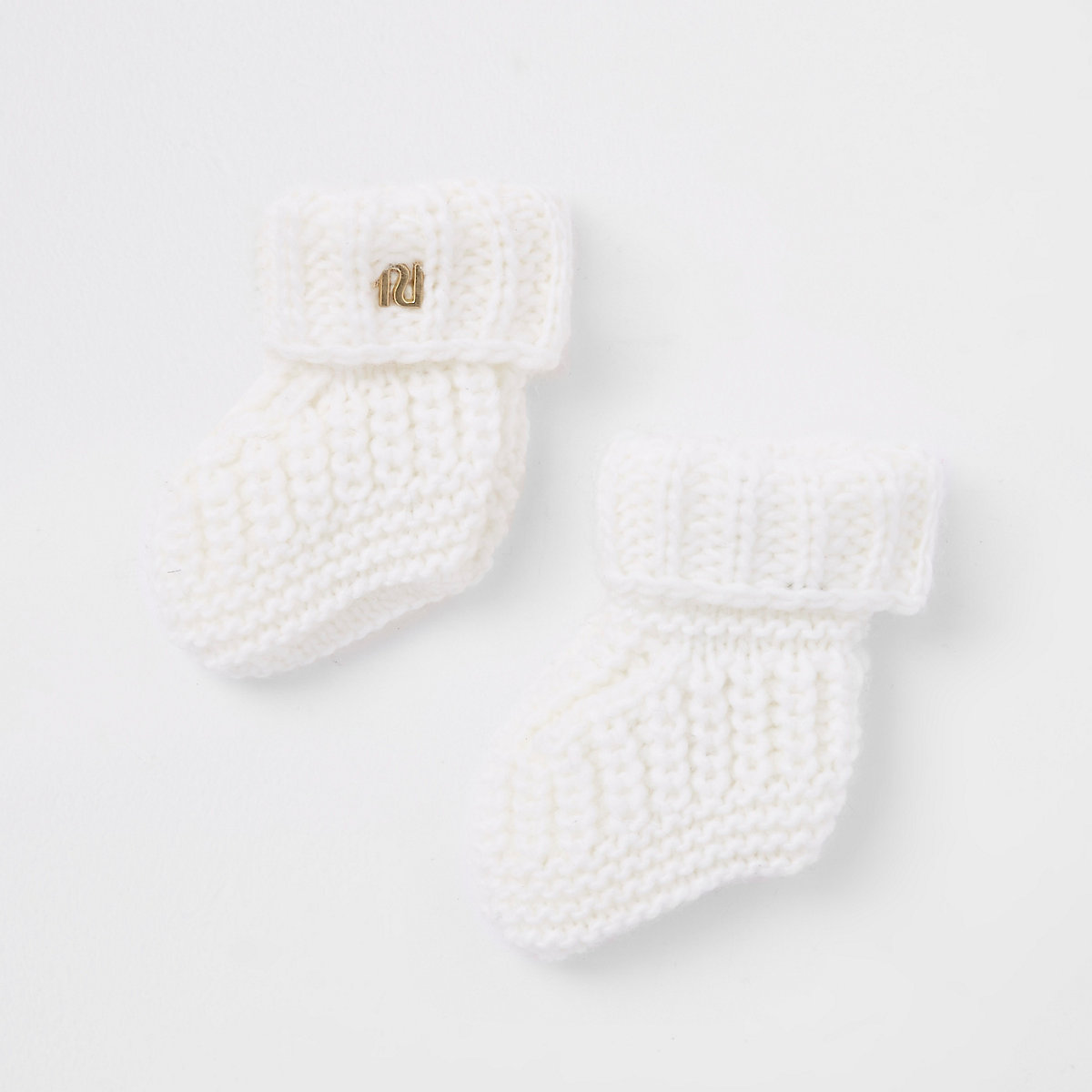 Baby cream knitted boot socks