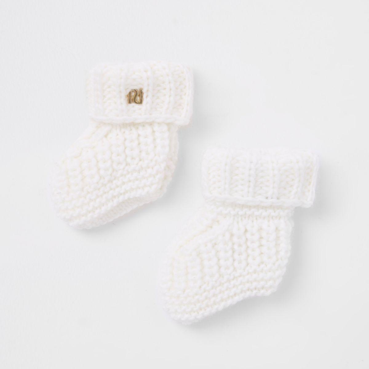 Baby cream knitted boot socks