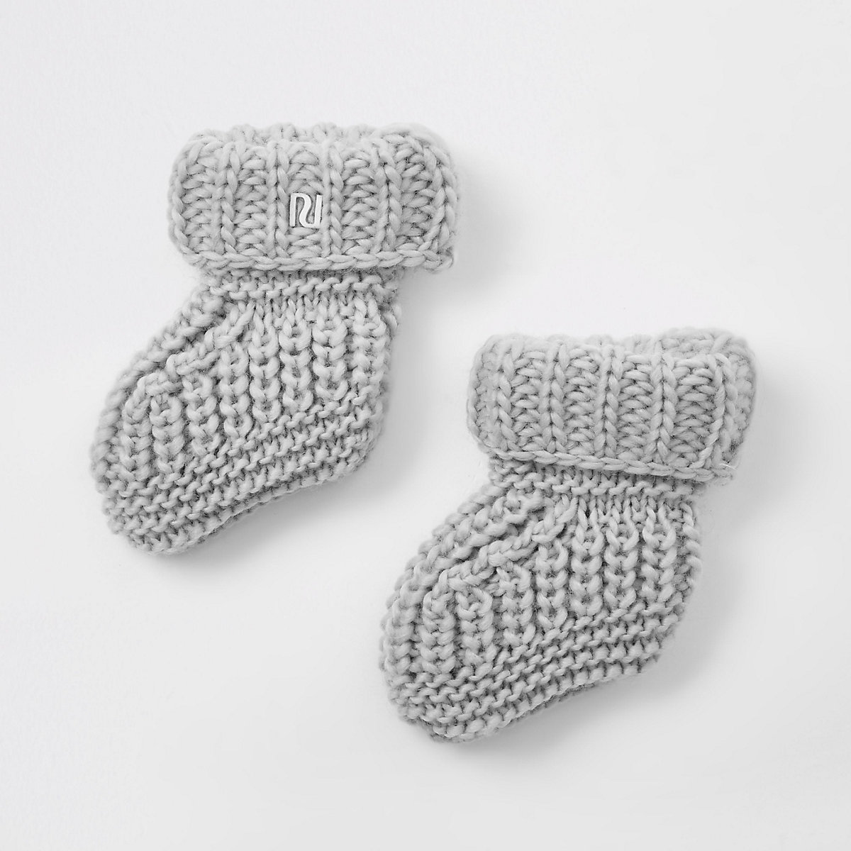 Baby grey knitted boot socks
