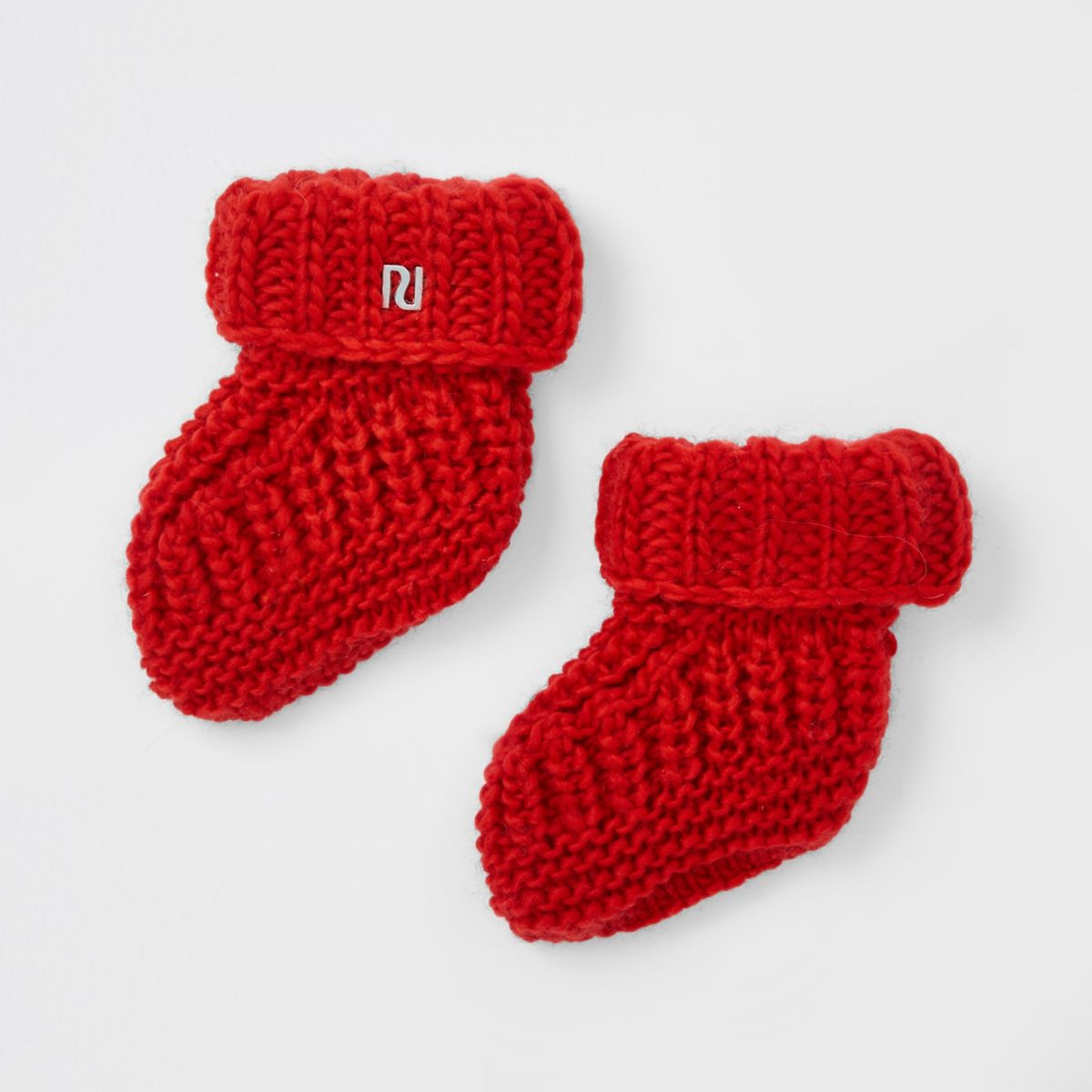 Baby red knitted boot socks