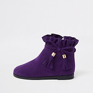 Mini girls purple paperbag bow detail boots