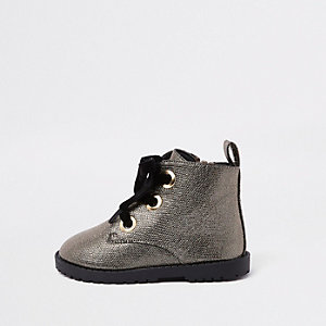 Mini girls gold glitter lace-up eyelet boots