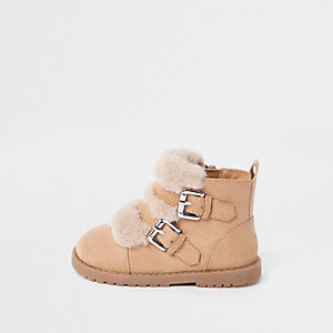 Mini girls beige faux fur double strap boots