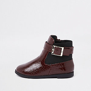 Bottines avec empiècements croco bordeaux vernis mini fille