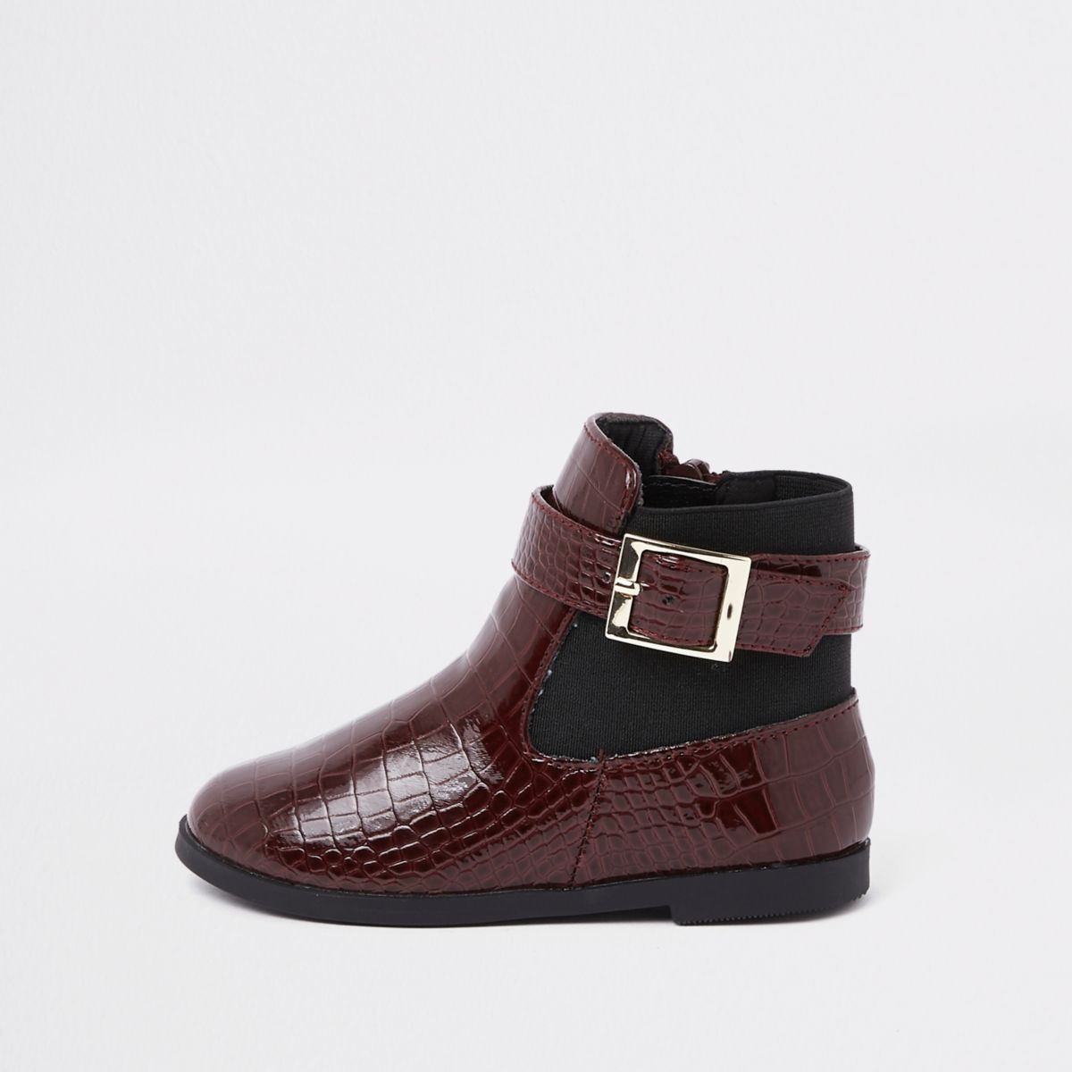 Mini girls burgundy croc panel patent boots