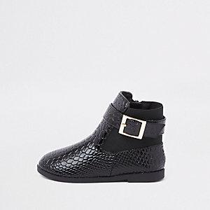 Mini - Zwarte lakleren laarsjes met krokodillenprint voor meisjes