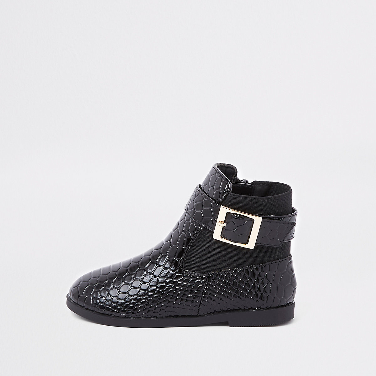 Mini girls black croc panel patent boots