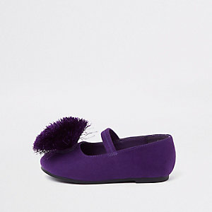 Mini girls purple pom pom ballerina pumps