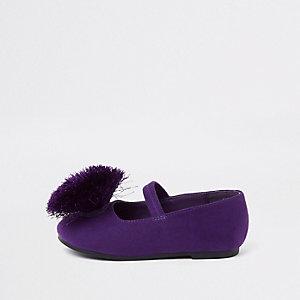 Ballerines violettes à pompon mini fille