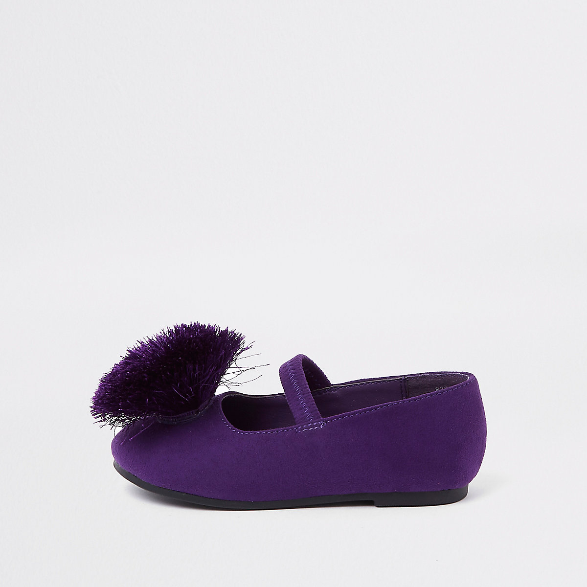 Mini girls purple pom pom ballet flats