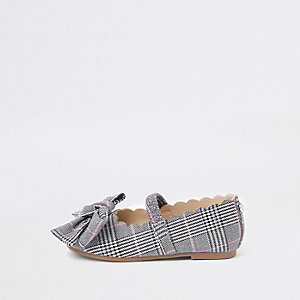Mini girls pink check ballet flats
