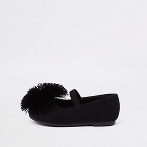 Mini girls black pom pom ballet flats