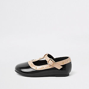 Mini girls black studded ballet flats