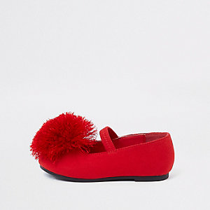 Mini girls red pom pom ballet flats