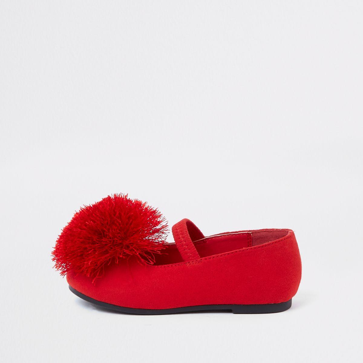Mini girls red pom pom ballet flats