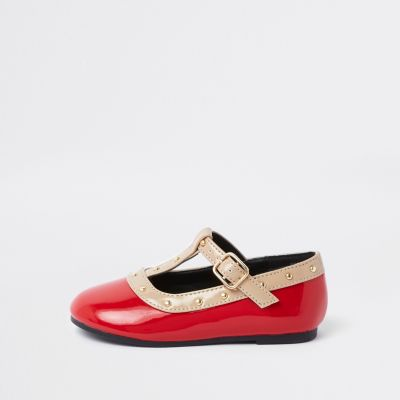 Mini Girls Red Studded Ballerina Pumps by River Island