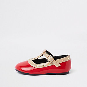 Mini girls red studded ballerina pumps