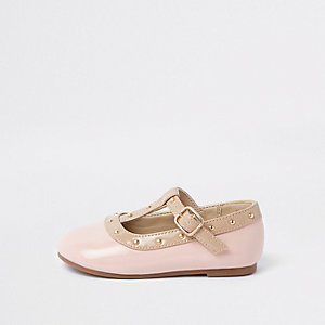 Mini girls pink studded ballerina pumps