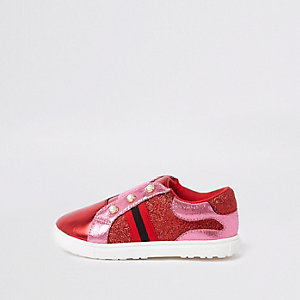 Mini girls pink red pearl glitter plimsolls