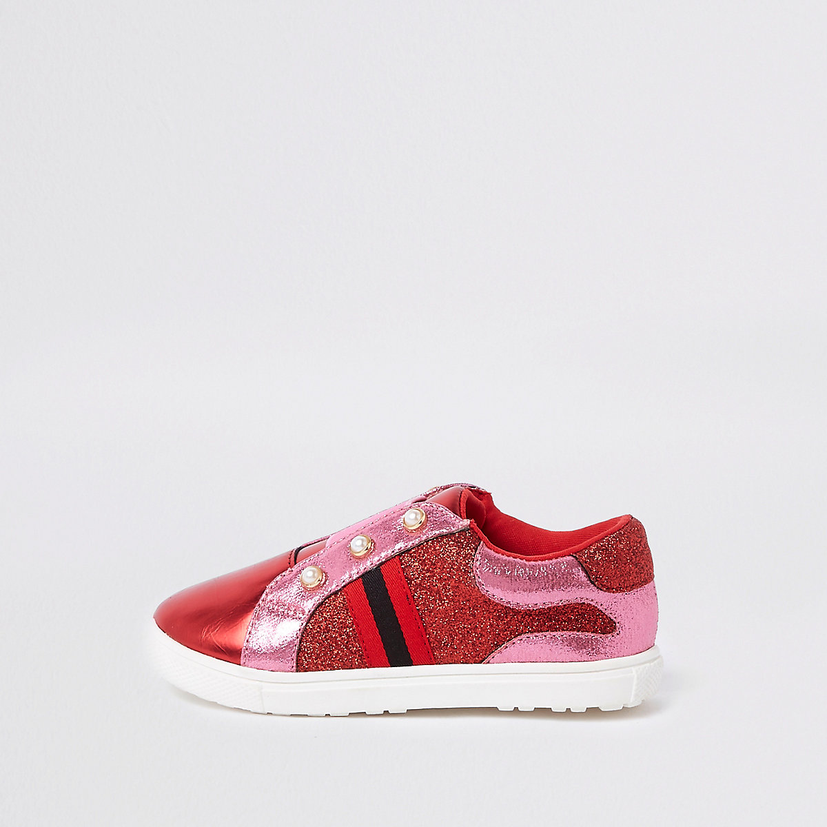 Mini girls pink red pearl glitter plimsolls