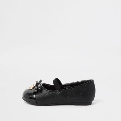 Mini Girls Black Ri Monogram Ballerina Shoes by River Island