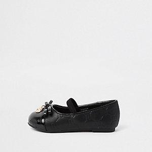Mini - Zwarte ballerina's met RI-monogram voor meisjes