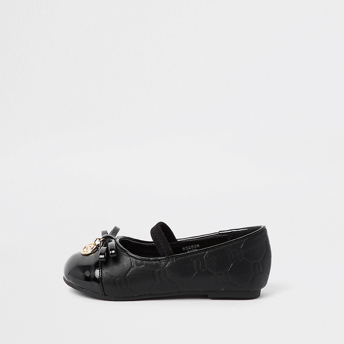 Mini girls black RI monogram ballerina shoes