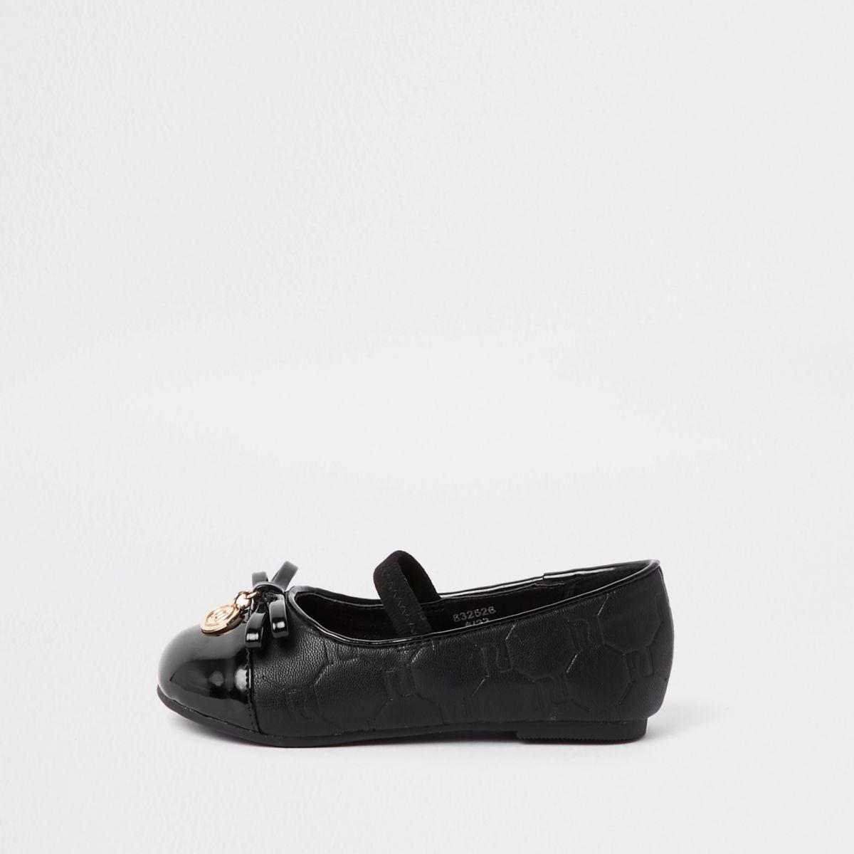 Mini girls black RI monogram ballerina shoes