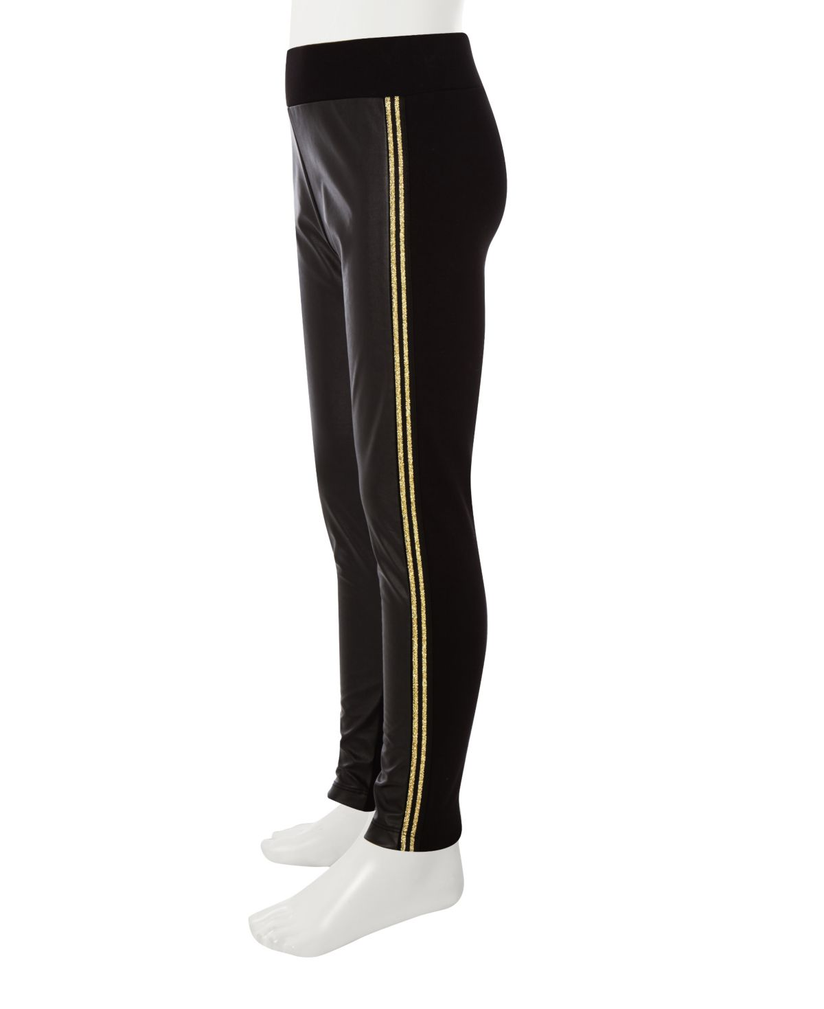Girls black mixed ponte side stripe leggings