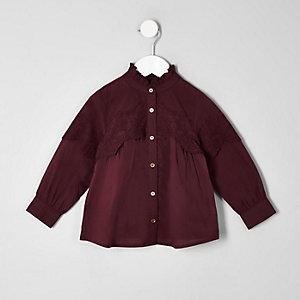 Chemise évasée violette avec broderie anglaise pour mini fille