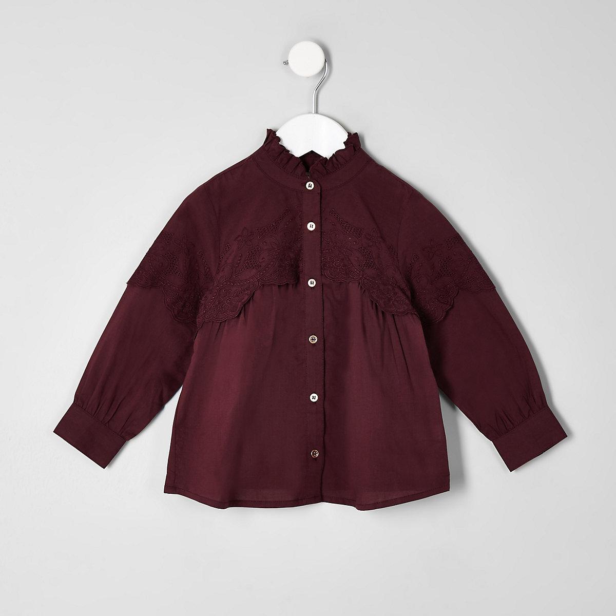 Mini girls purple broiderie swing shirt