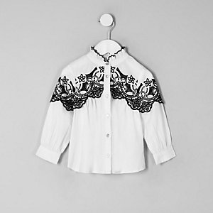 Mini girls white poplin embroidered shirt