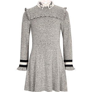 Girls grey embellished collar dress