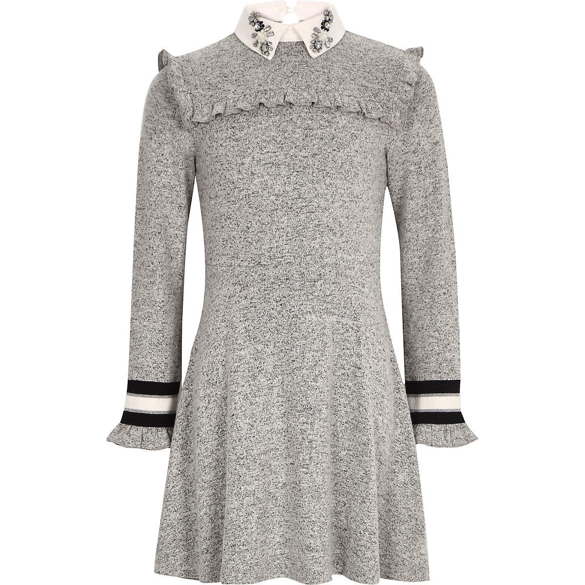 Girls grey embellished collar dress