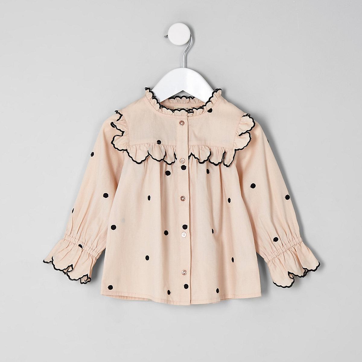Mini girls cream poplin polka dot swing shirt