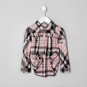 Mini girls pink check 'L'amour' swing shirt