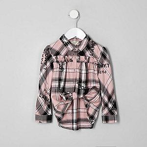 Chemise évasée « L'amour » à carreaux rose mini fille
