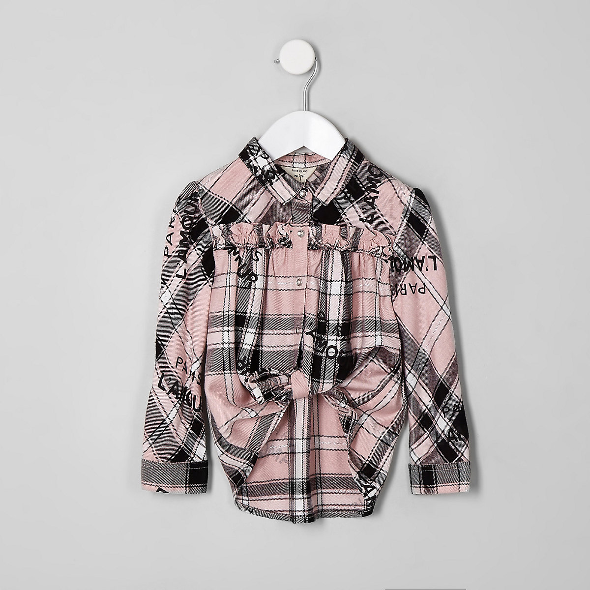 Mini girls pink check 'L'amour' swing shirt