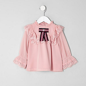 Mini girls pink lace frill swing top